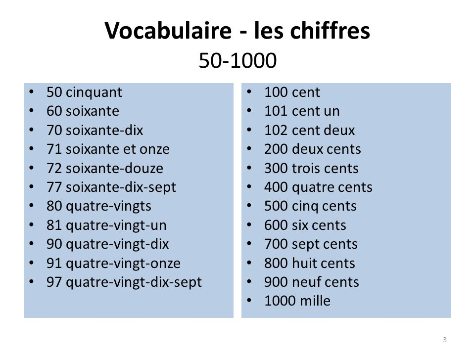 Exercice – les chiffres.