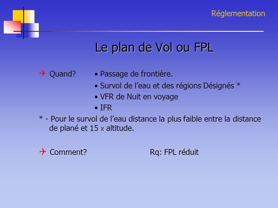 Le plan de Vol ou FPL  Quand • Passage de frontière.
