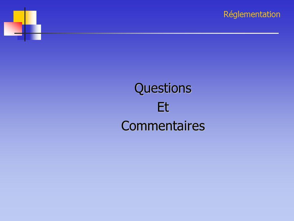 Réglementation Questions Et Commentaires