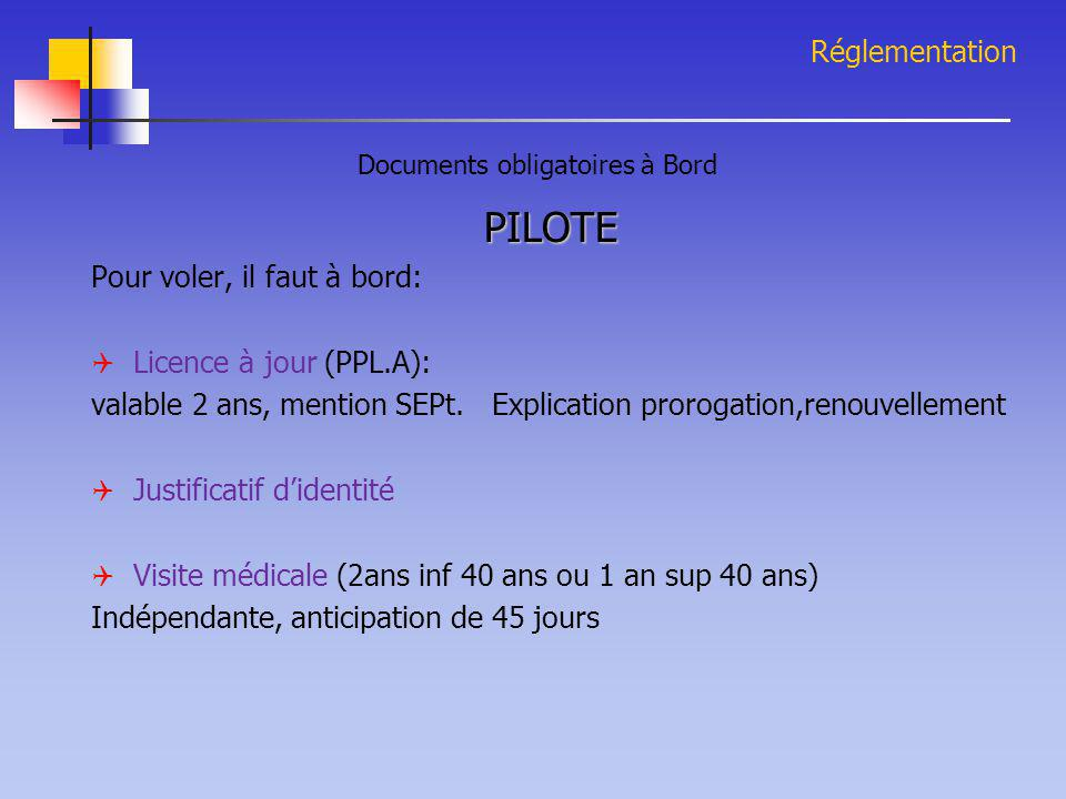 Documents obligatoires à Bord