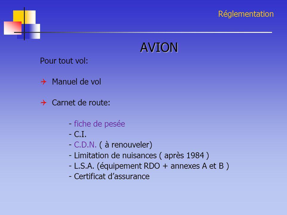 AVION Réglementation Pour tout vol:  Manuel de vol  Carnet de route: