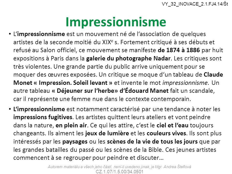 VY_32_INOVACE_2.1.FJ4.14/Št Impressionnisme.