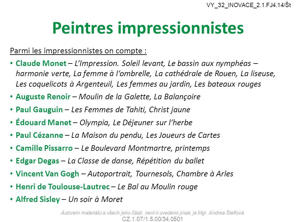 Peintres impressionnistes