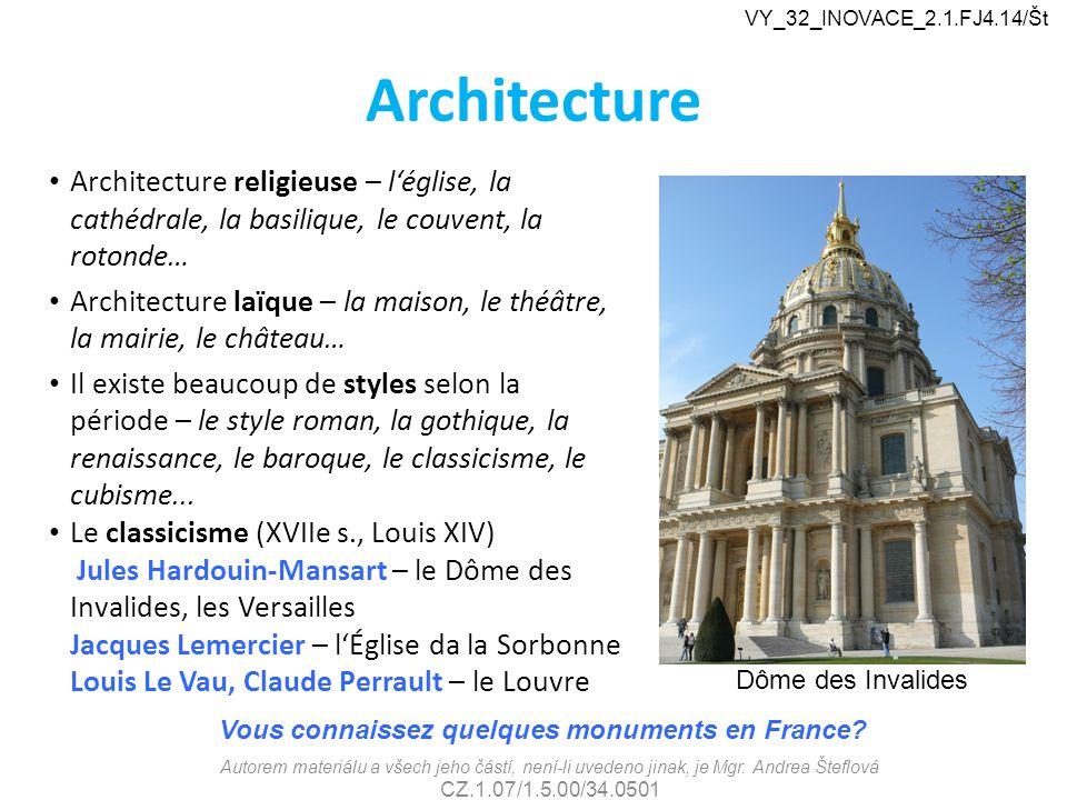 VY_32_INOVACE_2.1.FJ4.14/Št Architecture. Architecture religieuse – l'église, la cathédrale, la basilique, le couvent, la rotonde…