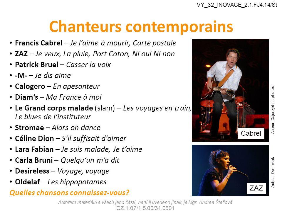 Chanteurs contemporains