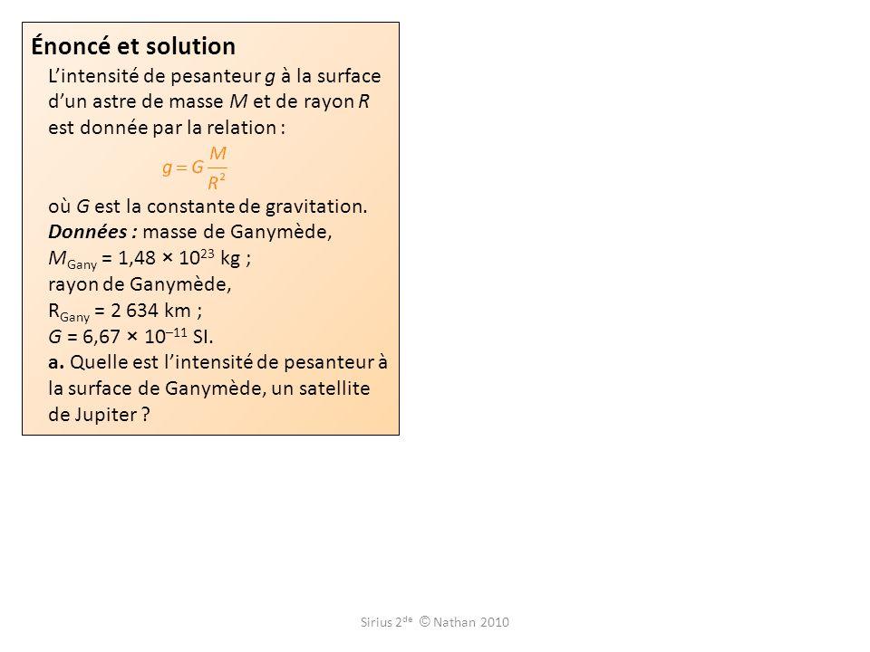 Énoncé et solution L'intensité de pesanteur g à la surface d'un astre de masse M et de rayon R est donnée par la relation : où G est la constante de gravitation. Données : masse de Ganymède, MGany = 1,48 × 1023 kg ; rayon de Ganymède, RGany = 2 634 km ; G = 6,67 × 10–11 SI. a. Quelle est l'intensité de pesanteur à la surface de Ganymède, un satellite de Jupiter