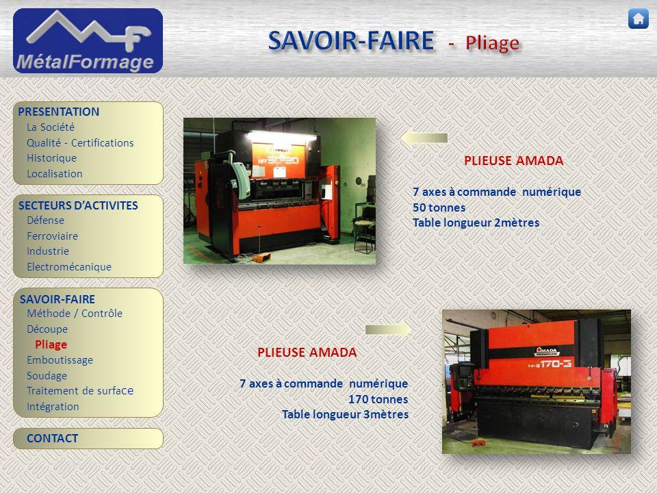 SAVOIR-FAIRE - Pliage PLIEUSE AMADA PLIEUSE AMADA PRESENTATION