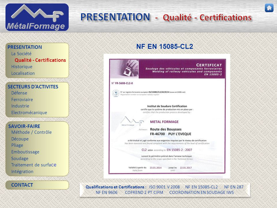PRESENTATION - Qualité - Certifications