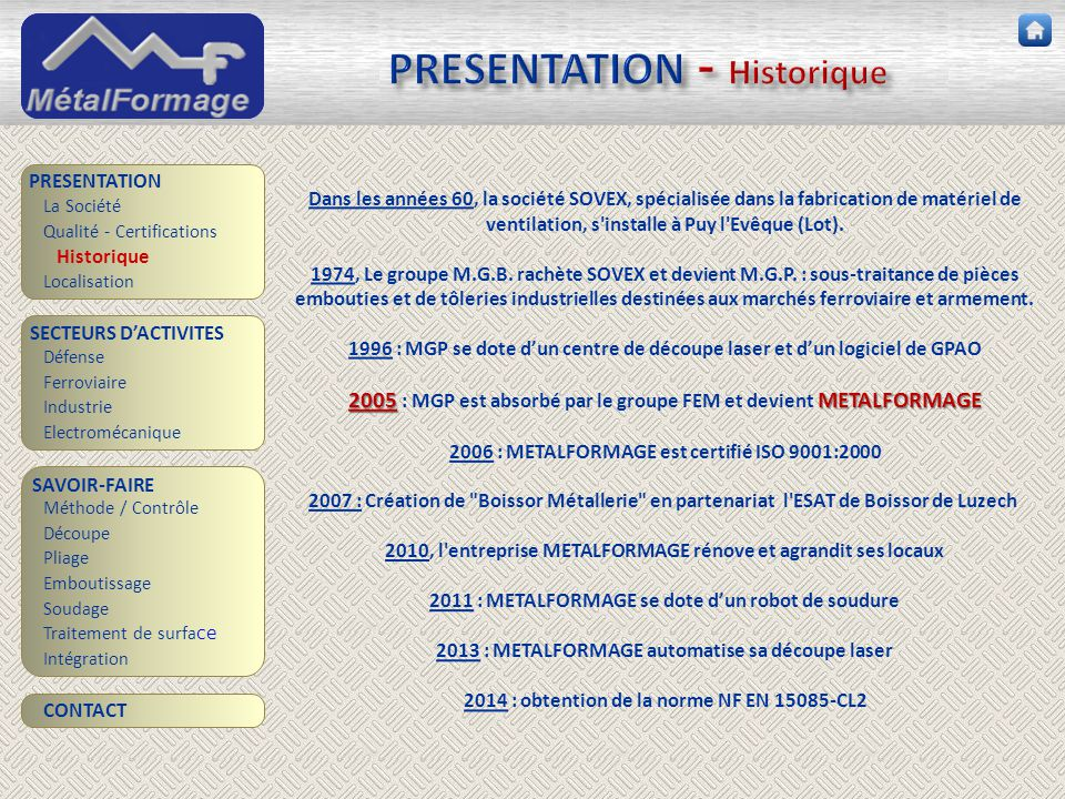 PRESENTATION - Historique