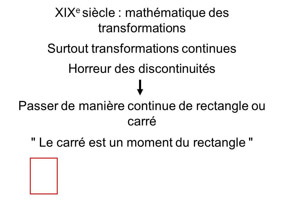 XIXe siècle : mathématique des transformations