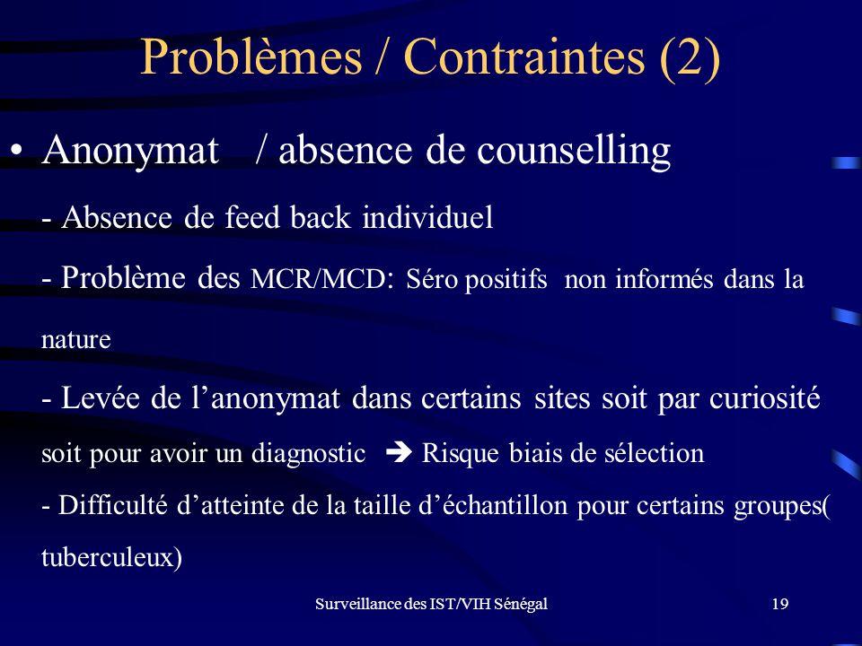 Problèmes / Contraintes (2)