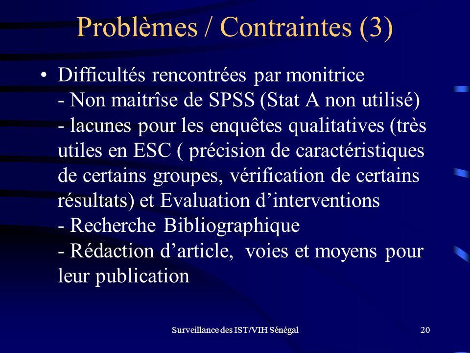 Problèmes / Contraintes (3)