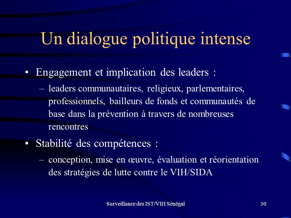 Un dialogue politique intense