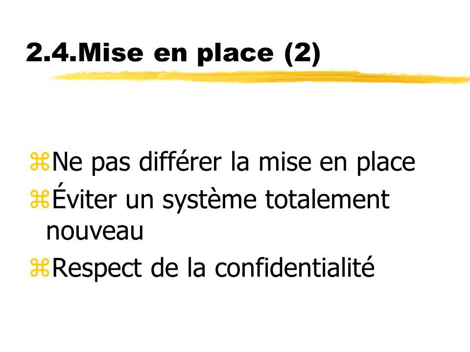 2.4.Mise en place (2) Ne pas différer la mise en place.