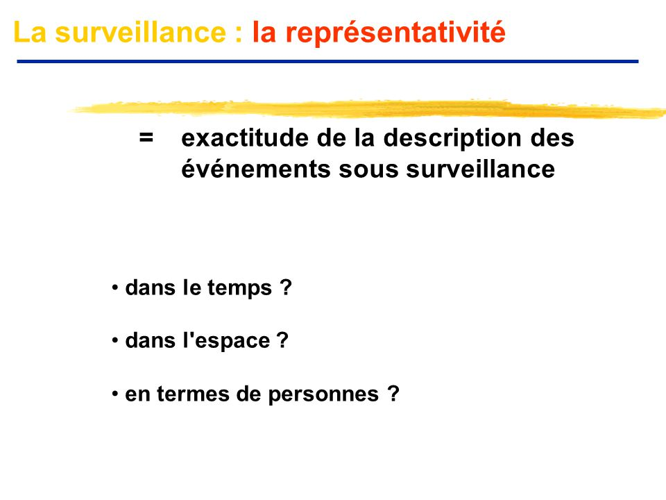 La surveillance : la représentativité