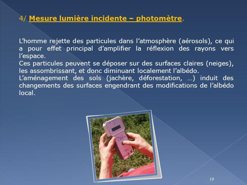 4/ Mesure lumière incidente – photomètre.