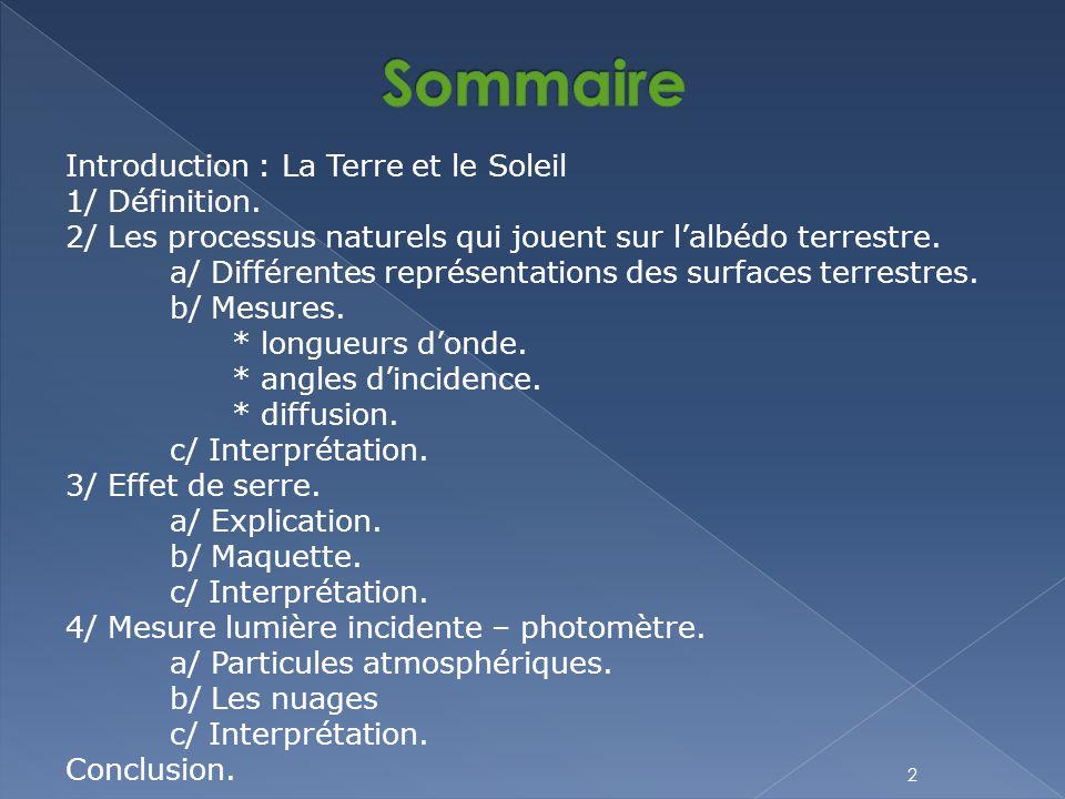 Sommaire Introduction : La Terre et le Soleil 1/ Définition.