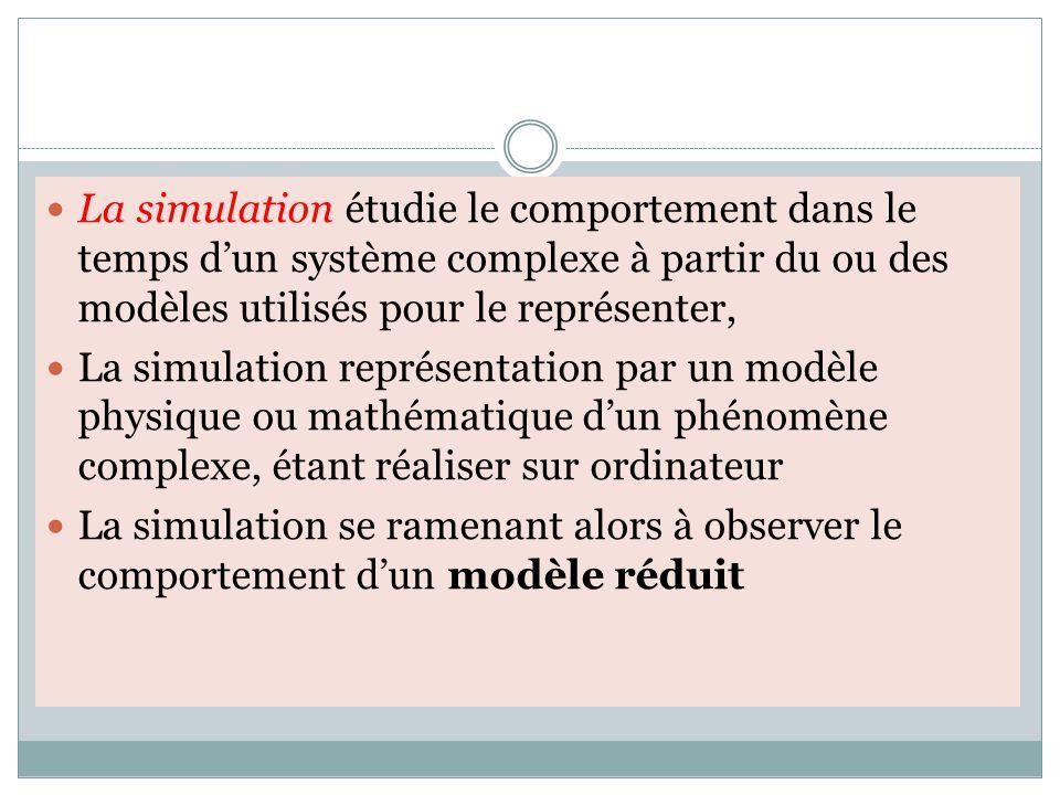 La simulation étudie le comportement dans le temps d'un système complexe à partir du ou des modèles utilisés pour le représenter,