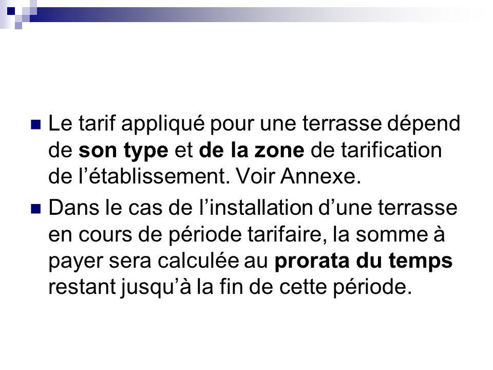 Le tarif appliqué pour une terrasse dépend de son type et de la zone de tarification de l'établissement. Voir Annexe.