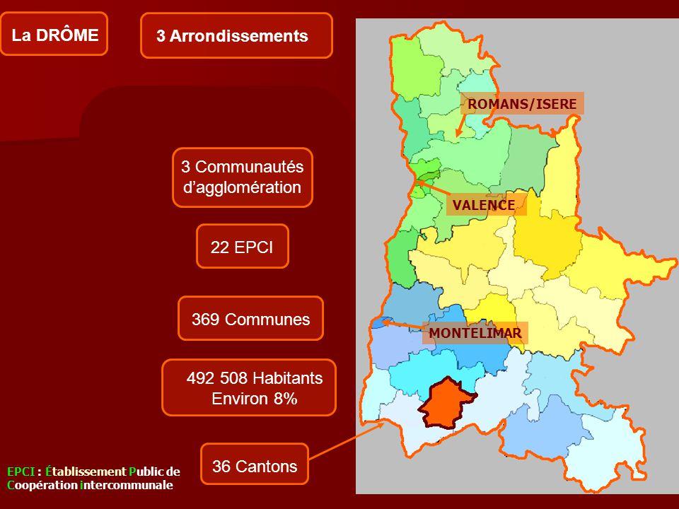 3 Communautés d'agglomération Arrondissement de Valence 16 cantons