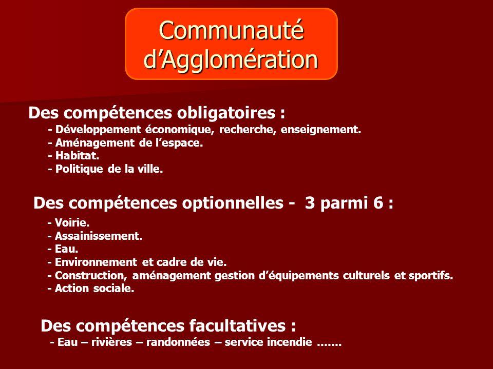 Communauté d'Agglomération Des compétences obligatoires :