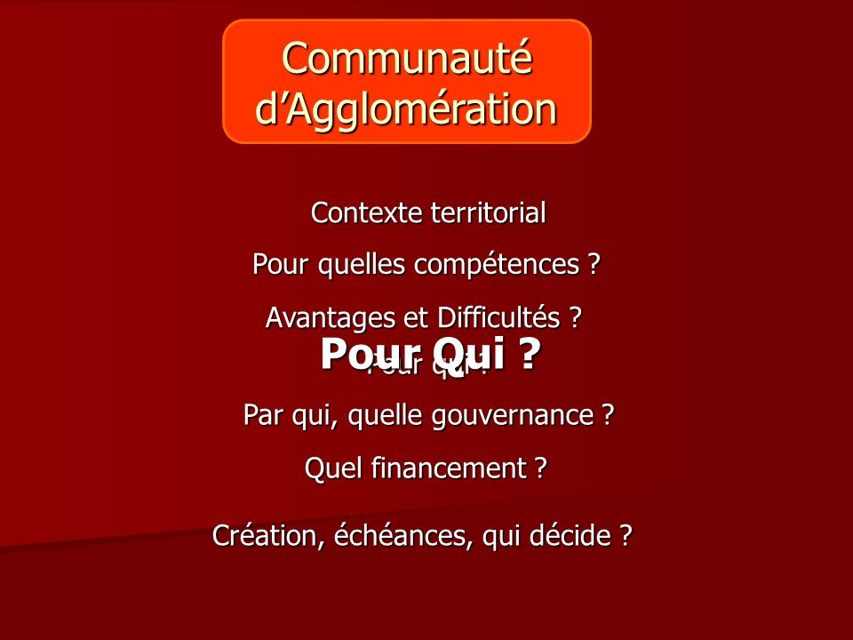Communauté d'Agglomération Pour Qui Contexte territorial