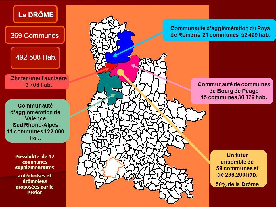 La DRÔME Communauté d'agglomération du Pays de Romans 21 communes 52 499 hab. 369 Communes. 492 508 Hab.