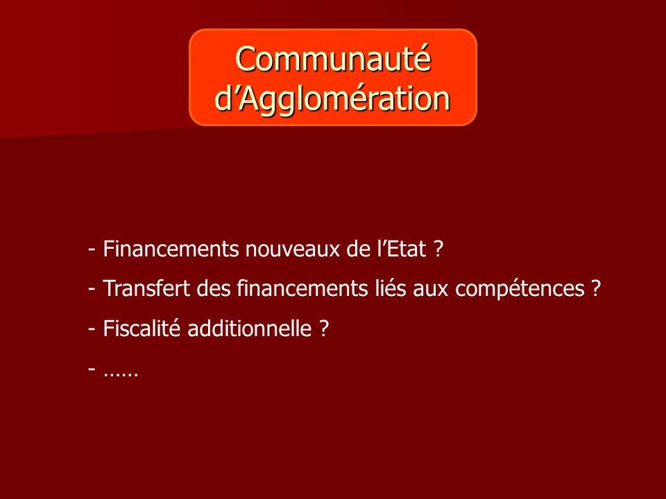 Communauté d'Agglomération Financements nouveaux de l'Etat