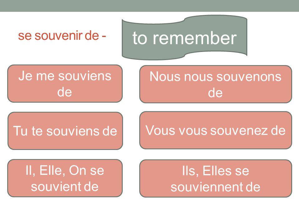 to remember se souvenir de - Je me souviens de Nous nous souvenons de