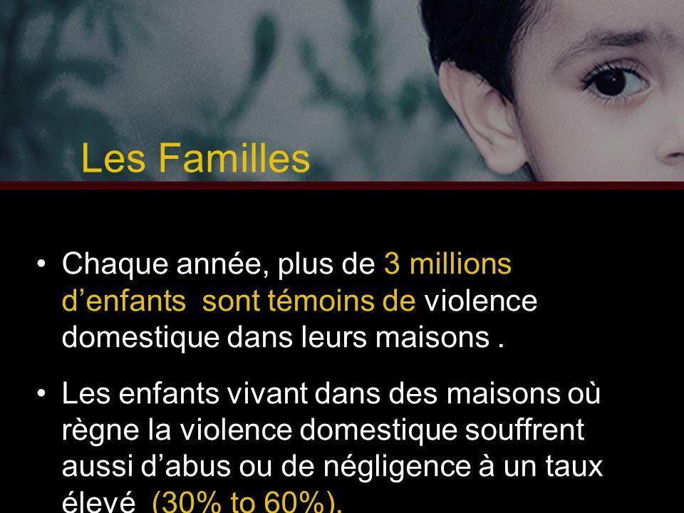 Les Familles Chaque année, plus de 3 millions d'enfants sont témoins de violence domestique dans leurs maisons .