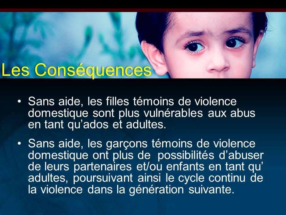 Les Conséquences Sans aide, les filles témoins de violence domestique sont plus vulnérables aux abus en tant qu'ados et adultes.