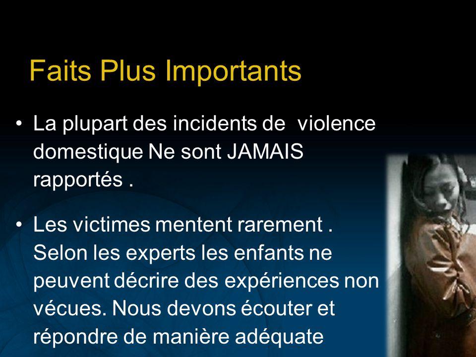 Faits Plus Importants La plupart des incidents de violence domestique Ne sont JAMAIS rapportés .
