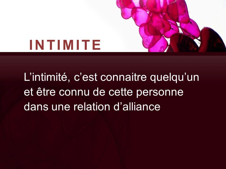 INTIMITE L'intimité, c'est connaitre quelqu'un et être connu de cette personne dans une relation d'alliance.