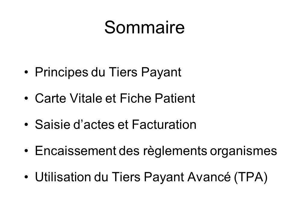 Sommaire Principes du Tiers Payant Carte Vitale et Fiche Patient