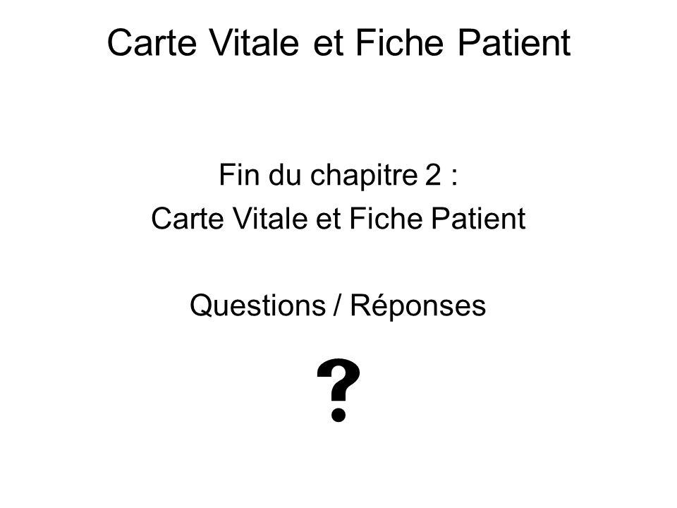  Carte Vitale et Fiche Patient Fin du chapitre 2 :