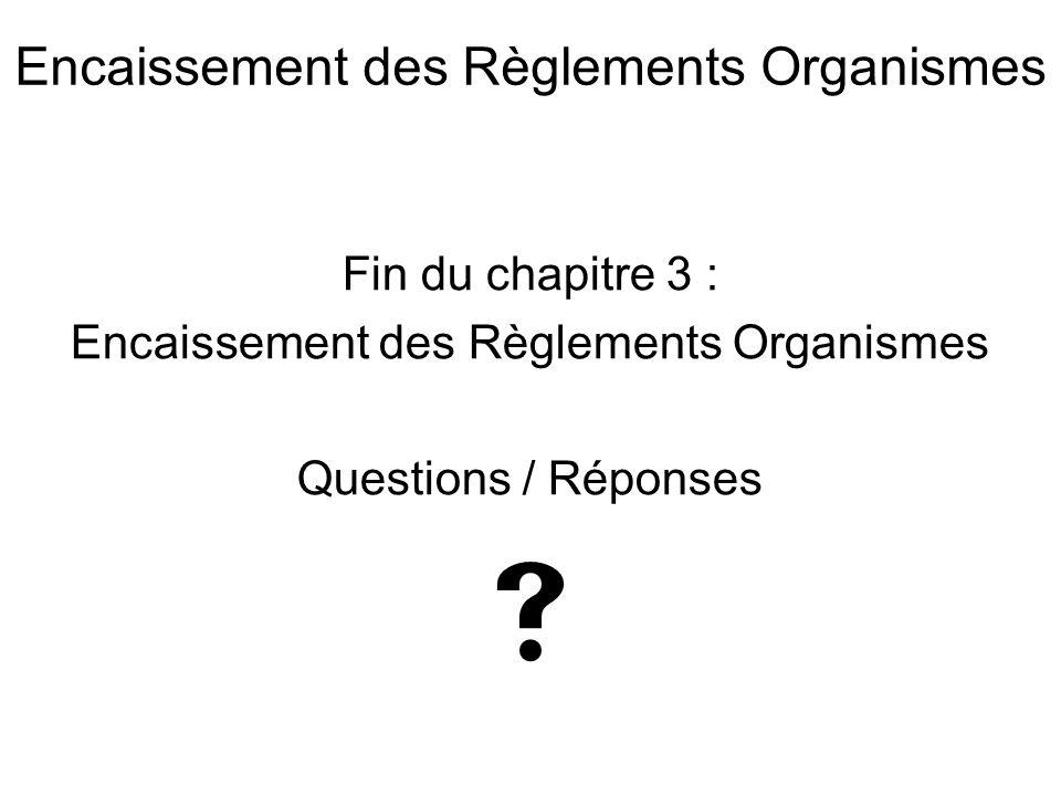  Encaissement des Règlements Organismes Fin du chapitre 3 :