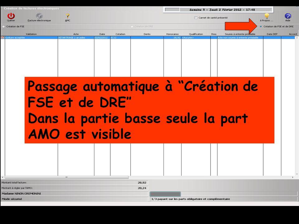 Passage automatique à Création de FSE et de DRE″