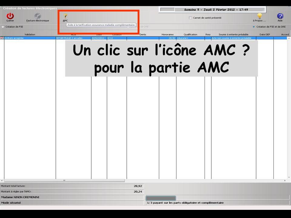 Un clic sur l'icône AMC pour la partie AMC