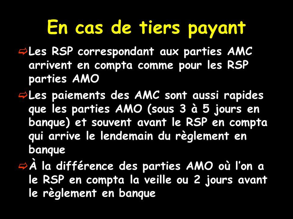 En cas de tiers payant Les RSP correspondant aux parties AMC arrivent en compta comme pour les RSP parties AMO.