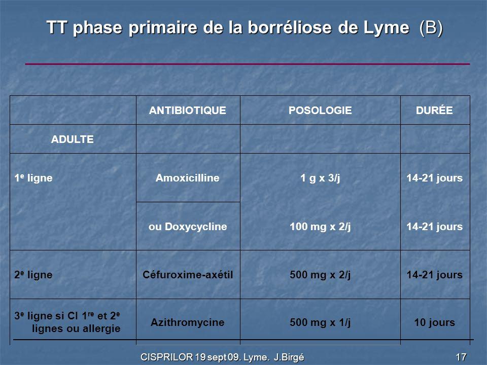 TT phase primaire de la borréliose de Lyme (B)