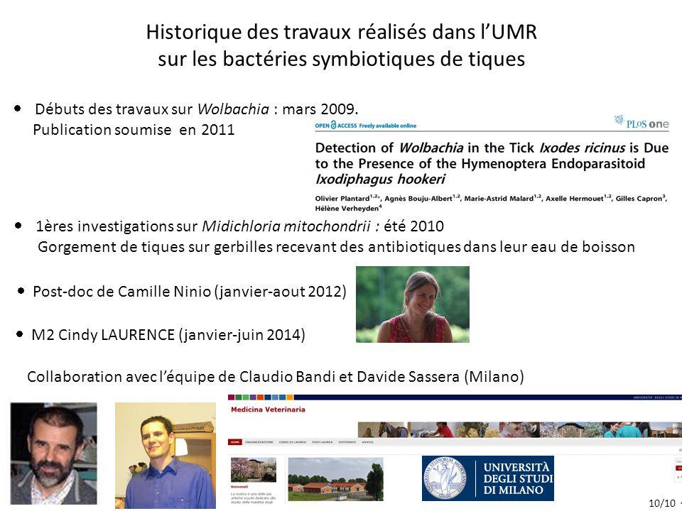 Historique des travaux réalisés dans l'UMR