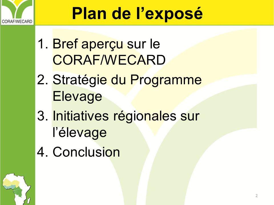 Plan de l'exposé Bref aperçu sur le CORAF/WECARD