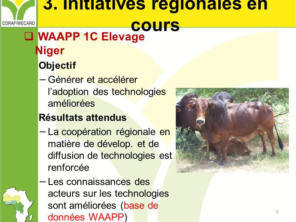3. Initiatives régionales en cours
