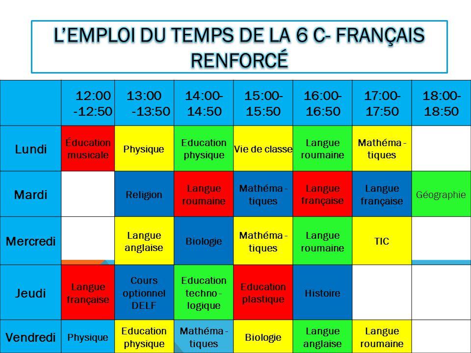 L'emploi du temps de la 6 C- français renforcé