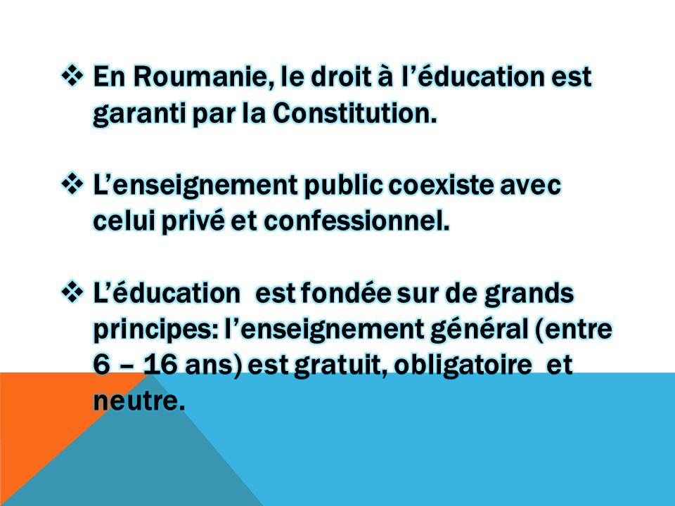 En Roumanie, le droit à l'éducation est garanti par la Constitution.