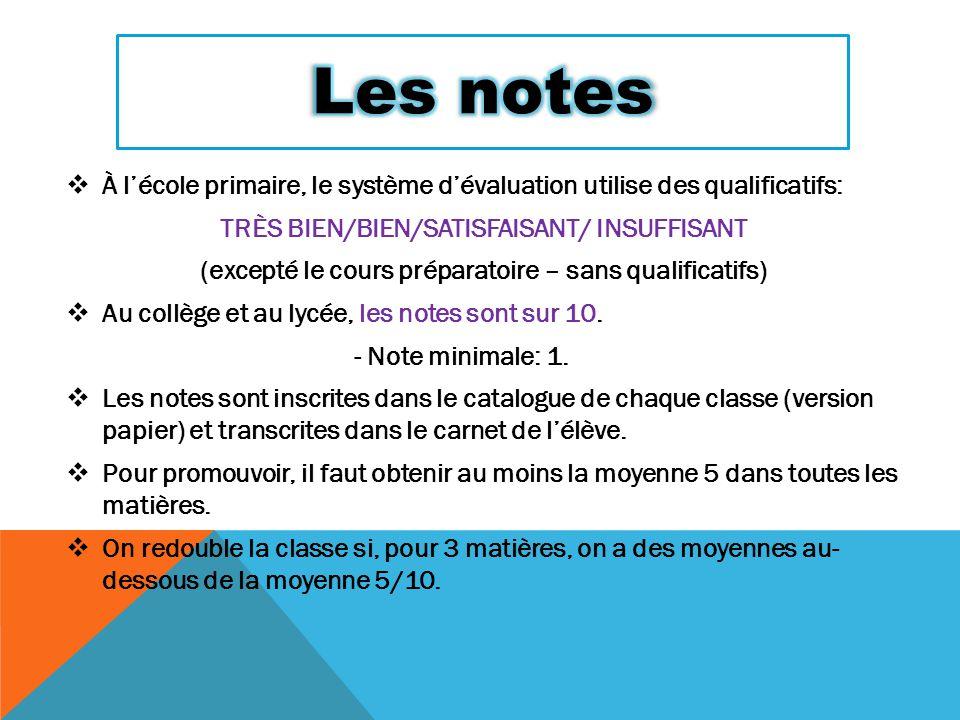 Les notes À l'école primaire, le système d'évaluation utilise des qualificatifs: TRÈS BIEN/BIEN/SATISFAISANT/ INSUFFISANT.