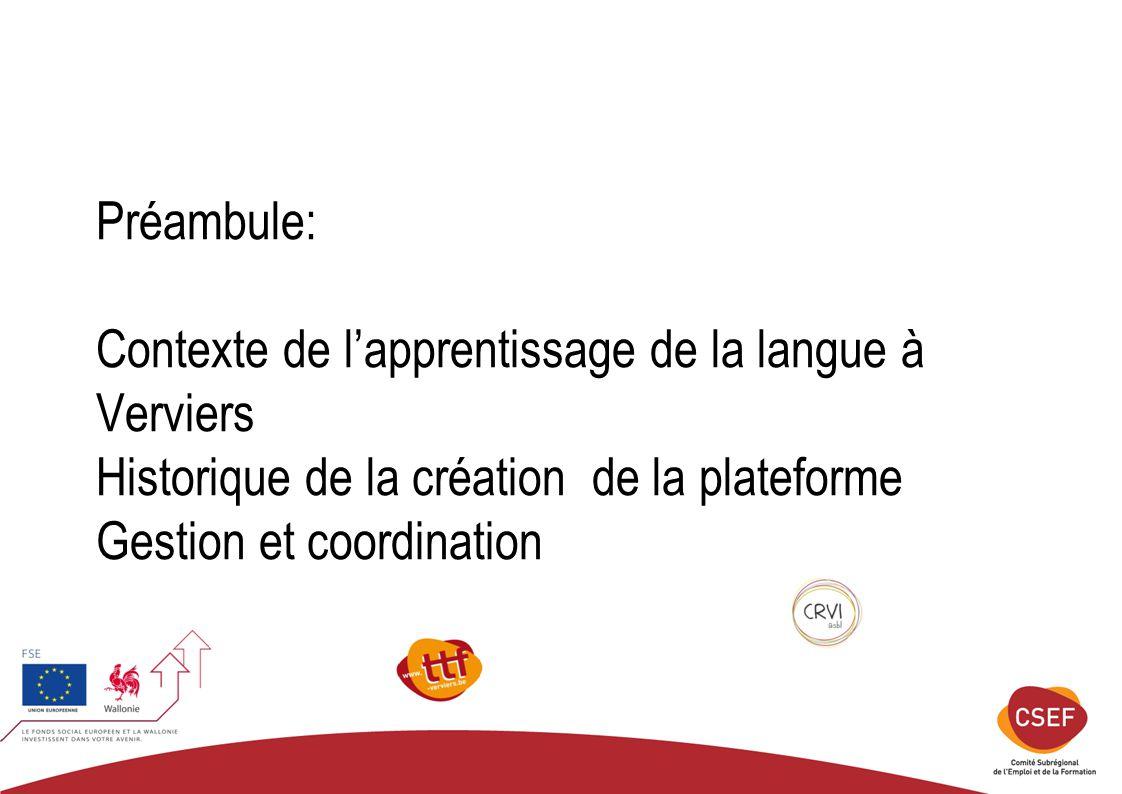 Préambule: Contexte de l'apprentissage de la langue à Verviers Historique de la création de la plateforme Gestion et coordination