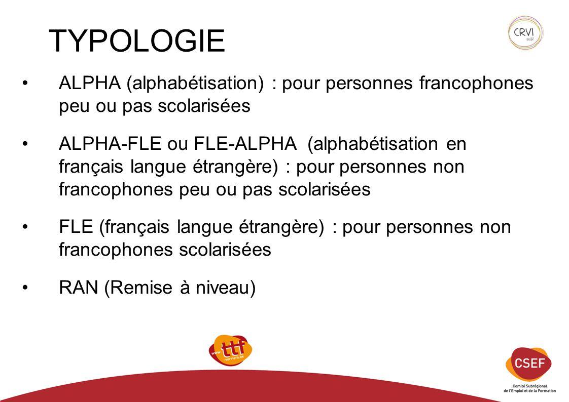 TYPOLOGIE ALPHA (alphabétisation) : pour personnes francophones peu ou pas scolarisées.