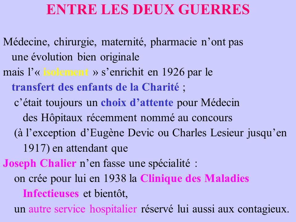 ENTRE LES DEUX GUERRES Médecine, chirurgie, maternité, pharmacie n'ont pas. une évolution bien originale.