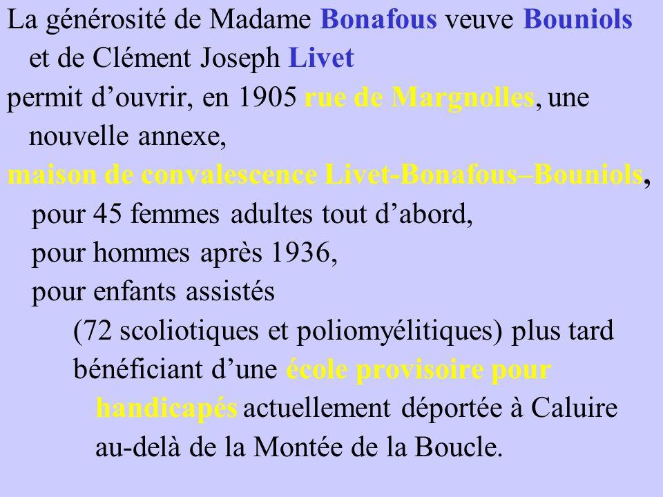 La générosité de Madame Bonafous veuve Bouniols